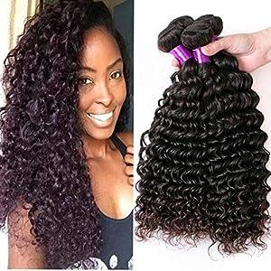 YOLANDEK Human Hair Brazilian Curly 4 Bundles Afro Kinky Curly Hair Weave 100% Unprocessed 8A Virgin Hair Extensions 4…