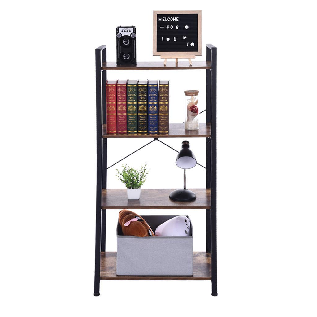 QIANSKY Three/Four Tier Bookcase and Book Shelves - Industrial Vintage Bookshelf Unit Metal Shelves Open Narrow Bookcases - for Home Office Living Room - 【Ship from USA】 (M) by QIANSKY