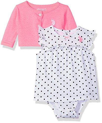 u.s. polo assn. Bebé niñas vestido con suéter o chamarra,  Lots of Dots Neon Pink, 3-6 Meses