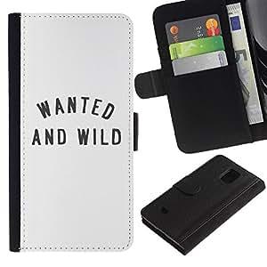 LASTONE PHONE CASE / Lujo Billetera de Cuero Caso del tirón Titular de la tarjeta Flip Carcasa Funda para Samsung Galaxy S5 Mini, SM-G800, NOT S5 REGULAR! / Wanted And Wild Quote Text Beige Minimalist