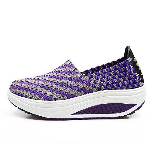 Platform Purple Fashion Enllerviid 808 Casual Shoes Multicolor Slip Weave on Braid Sneakers Women 8w1afF8q7