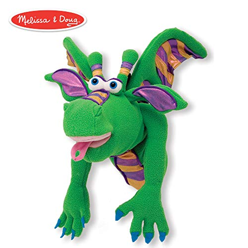 Melissa & Doug Smoulder the Dragon Puppet with Detachable Wooden Rod (Puppets & Puppet Theaters, Animated Gestures, Inspires Creativity, 15
