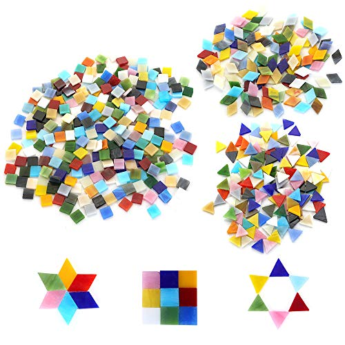 600pcs/400g Bulk Mosaic Tile Assortment, Mixed Colors Stained Glass, Square, Triangle, Rhombus, Home Decoration DIY Arts & Craft (Non-Transparent) ()