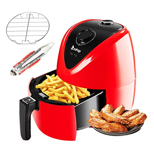 ROVSUN Electric Air Fryer 3.7QT Capacity 1500W Air Frying Technology with Temperature and Time Control, Removable Dishwasher Safe Basket, Includes Metal Holder and Cooking Tongs Accessory, ETL List