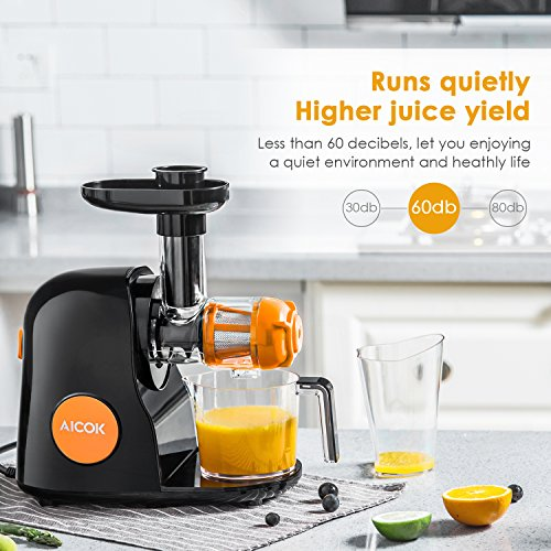 Masticating juicer. Juicer Masticating Slow Juicer, Aicok Commercial Juicer Quiet Motor & Reverse Function, Cold Press Juicer Easy to Clean with Brush, Juice Machine for Vegetables and Fruits #juicer