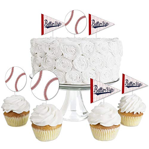 Batter Up - Baseball - Dessert Cupcake Toppers - Baby Shower or Birthday Party Clear Treat Picks - Set of
