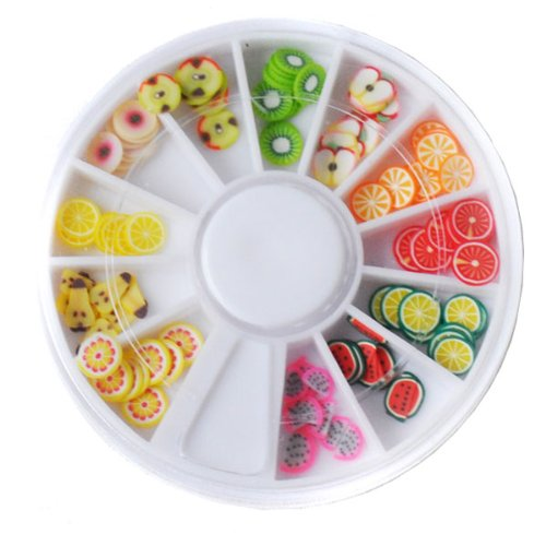 BestOfferBuy 120PCS Fruit Fimo Slice Tips 3D Nail Art DIY Sticker Decoration Wheel