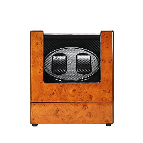 MITIME Luxury Automatic Dual Watch Winder Wood Rotating Watches Display Storage Case Box (Piano Paint + Tempered Glass) Automatic Rotating Watch case