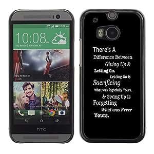 iBinBang / Funda Carcasa Cover Skin Case - Inspiring Negro Mensaje Texto blanco inteligente - HTC One M8
