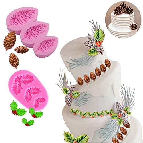 BUSOHA Christmas Decor Molds - Christmas Holly Leafs/Pine Cone Fondant Silicone Molds Baking Chocolate Candy Sugar Craft Cake Decorations Molds]()