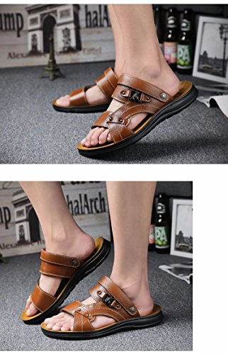 estate Il nuovo vera pelle Uomini sandali Tempo libero scarpa Uomini Antiscivolo sandali Spiaggia scarpa tendenza ,Marrone,US=6.5,UK=6,EU=39 1/3,CN=39