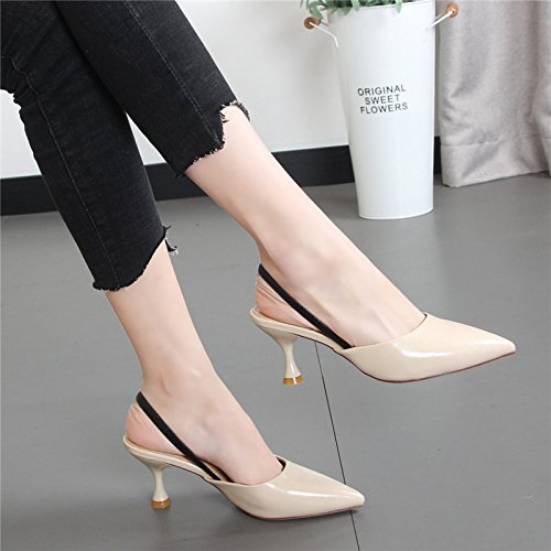 desgaste correa de mitad bellas con y beige mujeres Cool a trasera sandalias Xue Baotou tip Qiqi fashion 34 mujer de arrastre zapatillas zapatos xwfY7Wpq