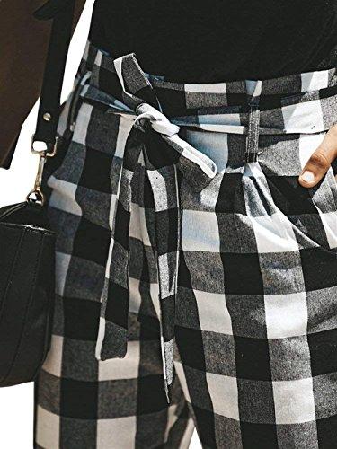 Rinalay Accogliente Pantalonichic Slim Nero Donne Primaverile Autunno Cinghia Pantalone Libero Tasche Outdoor Fit Chino Dei Jogging Pantaloni Pantaloni Vintage Pantaloni Due Con Reticolo Tempo AqrApwx4