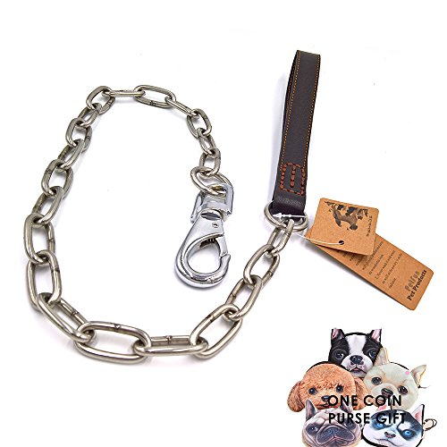 PetFun Brown 4FT Extreme Strong Genuine Leather Quality Half Stainless Steel Anti-Chewing Chain for XL, Large Dogs - Traditional 4' Handle Pull