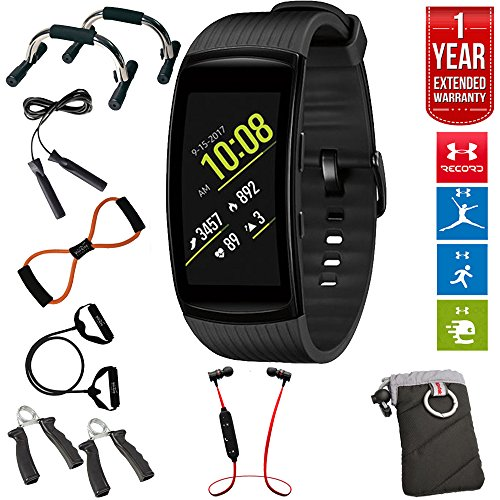 Samsung Gear Fit2 Pro Fitness Smartwatch - Black, Large (SM-R365NZKAXAR) + Fusion Bluetooth Headphones + Gear Black Jacket Case + 7-in-1 Total Resistance Fitness Kit + 1 Year Extended Warranty by Beach Camera