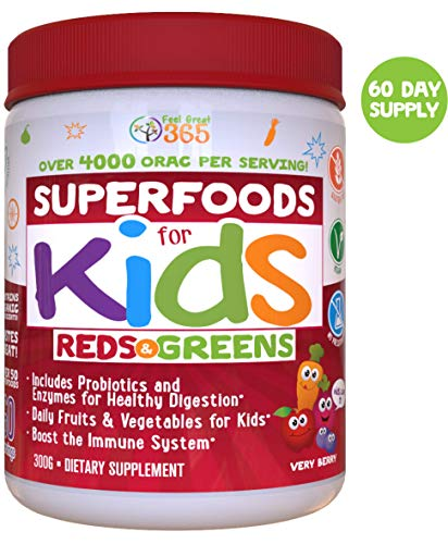 Kids Superfood Reds and Greens Juice Powder by Feel Great 365 (60 Servings), Made with Real Fruits & Vegetables, Includes Probiotics to Help Build Immunity*,Non-GMO, Gluten Free, Organic & Vegan