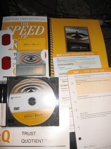 (LEADING AT THE SPEED OF TRUST; 8 ITEM SET: PAPERBACK BOOK; SPIRAL BOOK; TRUST QUOTIENT REPORT SAMPLE; TRUST ACTION PLAN; WEEKLY INTEGRATION PROCESS; TRUST ACTION CARDS; GLASSES; ONE PARTICIPANT DVD )