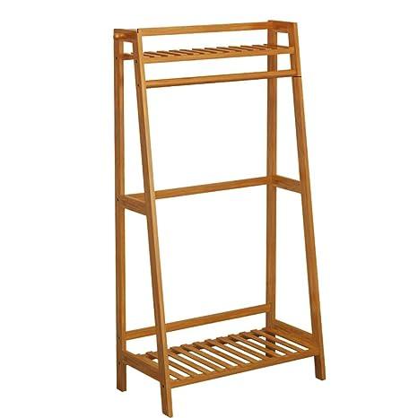 Amazon.com: Perchero de madera de bambú con ganchos para ...