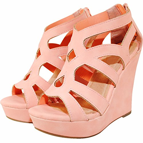 TRENDSup Collection Women Gladiator High Wedge Platform Sandal Shoes (6.5, Coral)