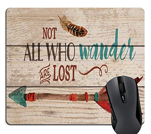 Wknoon Not All Who Wander are Lost Quote Rustic Wood Mouse Pad, Inspirational Quotes Retro Arrow Colored Feather Drawing Art Mouse Pads