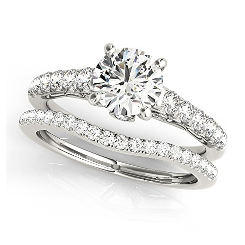 14K White Gold Unique Wedding Diamond Bridal Set Style MT50639