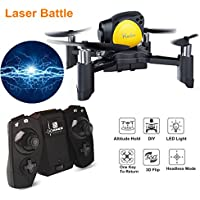 Mini Drone for Kids, Pocket Drone Quadcopter, Remote Control Drone ( Laser Battle Mode, Headless Mode, Altitude Hold, One Key To Return, 3D Roll MAV RTF) Christmas Gifts by Crazepony