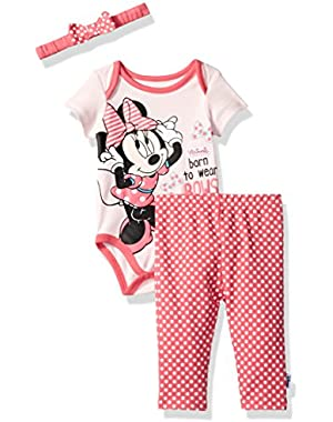 Baby Girls' Minnie Mouse 3-Piece Bodysuit, Pant, and Headband Set