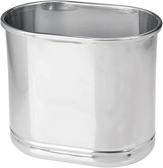 Amazon Com Mdesign Slim Oval Metal Trash Can Small Wastebasket Garbage Receptacle Bin For Bathrooms Powder Rooms Kitchens Home Offices Chrome Home Kitchen