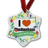 Personalized Name Christmas Ornament, I Love Cheltenham, region:al South West England, England NEONBLOND