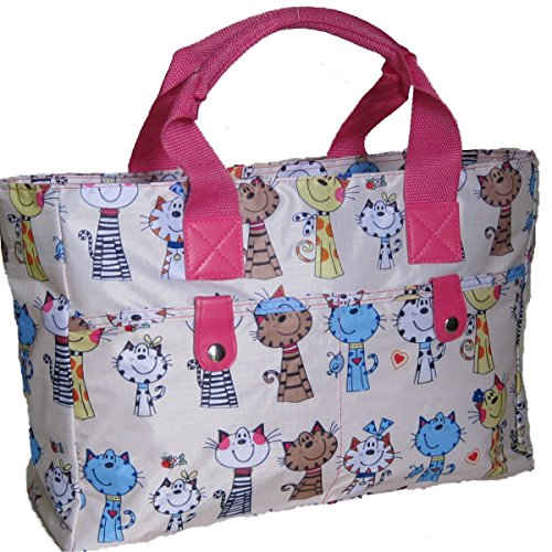 Cats Happy Light Knitting strong handbag Beach Bag wipe Floral and cleanable Very Bag Silver PxOU7aP