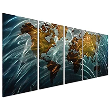 Home - Blue World Map Large Metal Wall Art Decor - Set of 5 Panels Abstract Decorative Contemporary Sculpture - 64  x 24
