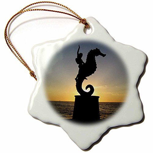 3dRose LLC orn_18563_1 Puerto Vallarta Malecon Boy on Seahorse Statue Silhouetted Against Sunset Snowflake Porcelain Hanging Ornament, ()