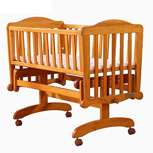 Ybriefbag-Home 2 Modes Pine Wood Baby Crib Child Cradle Nursery Side Bed Toddler Daybed Furniture Doll Cradle (Color : Natural, Size : 98.75781.6cm)