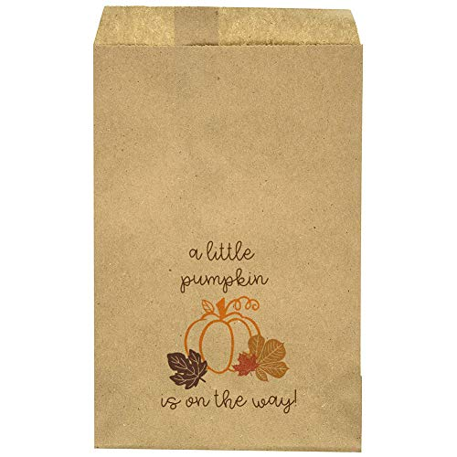 """Baby Shower Favor Bag - Pumpkin - Leafs - Fall - Goody Bag - Candy Bar – Treat Table - Small Party Favors – A Little Pumpkin is On The Way - 9.25"""" x 6.25"""" Brown Kraft Bags – (20 Pack) -"""