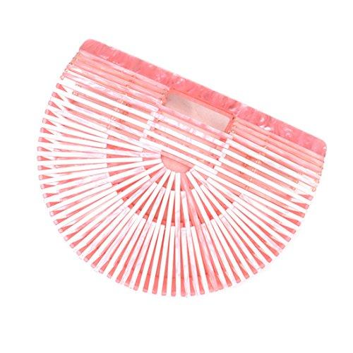 Large Beach Handbag Bamboo Bag Womens Clutch Acrylic Pink Tote Ark Bag BqwpWpFXS