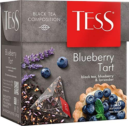 Tess Blueberry Tart Black Tea Composition Blueberry and Lavander Leaf Tea in 20 Pyramid Sachets