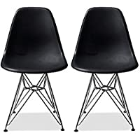2xhome – Set of Two (2) Black - Eames Style Side Chair Chromed Wire Legs Eiffel Legs Dining Room Chair - Lounge Chair No Arm Arms Armless Less Chairs Seats Wooden Wood leg Wire leg