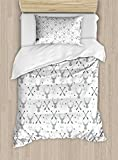 Lunarable Antlers Duvet Cover Set Twin Size, Hunting Theme with Scandinavian Design Elements Arrows Triangles Deer, Decorative 2 Piece Bedding Set with 1 Pillow Sham, Grey Mint Green Black