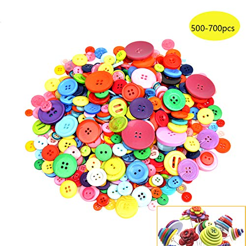500-700 PCS Assorted Mixed Color Resin Buttons 2 and 4 Holes Round Craft for Sewing DIY Crafts Children's Manual Button Painting,DIY Handmade ()