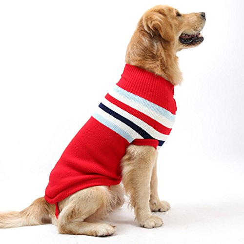 (Fosinz Dog Warm Clothes Stripes Sweater Winter Clothing Vest Sweatshirt Coat Knitwear T-shirt (L(Neck:13