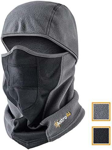 AstroAI Ski Mask Winter Balaclava Windproof Breathable Face Mask for Cold Weather (Superfine Polar Fleece, Grey)