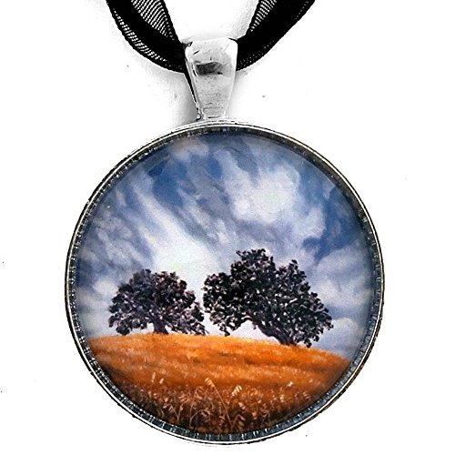 - Stormy California Oak Trees Landscape Handmade Jewelry Art Pendant