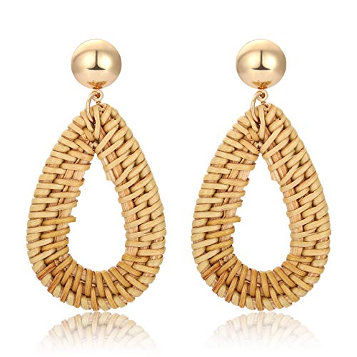 MOLOCH Rattan Earrings Handmade Lightweight Straw Wicker Braid Woven Drop Dangle Earrings Acrylic Resin Disc Statement Stud Earring (Teardrop)