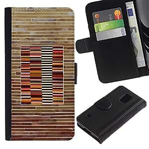 EuroTech - Samsung Galaxy S5 V SM-G900 - Wall Pattern Wood Brick Lines Horisontal - Cuero PU Delgado caso Billetera cubierta Shell Armor Funda Case Cover Wallet Credit Card