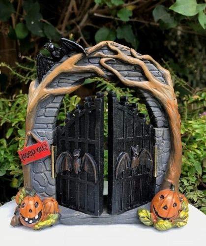 Mini Halloween Vine Arch w Opening Bat Gate - Miniature Dollhouse -