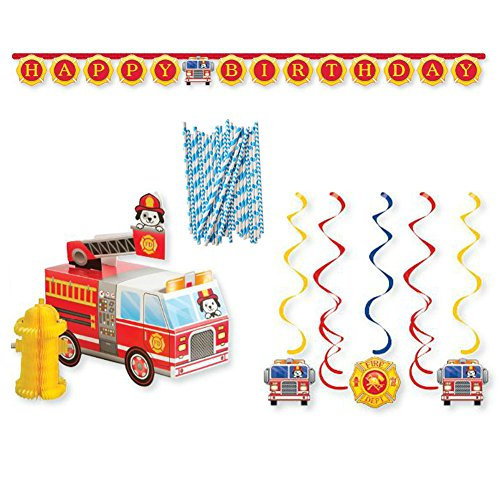 Fire Alarm Flaming Fire Truck Birthday Party Supplies Pack | 24 Paper Straws, 1 Honeycomb Centerpiece, 1 Happy Birthday Party Banner, and 6 Dizzy Danglers | Perfect Birthday Party Supplies for Kids!