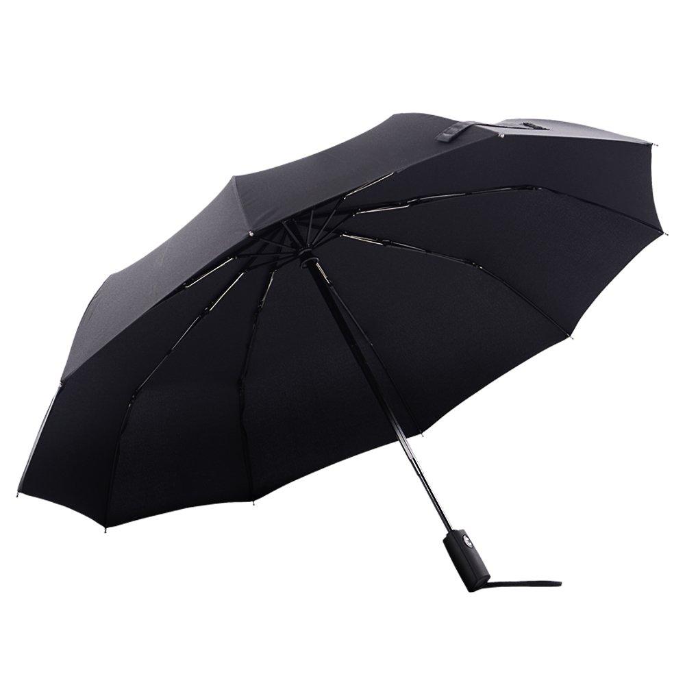 Colorain Windproof Travel Umbrella, Auto Open Close 10 Fiberglass Rib, Golf Size 46 Inch/54 Inch Folding Stick Umbrella for Men and Women with Gift Box (Black, 54 inch)