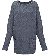 LAISHEN Women's Crewneck Batwing Sleeve Popcorn Fuzzy Sweater Casual Oversized Long Pullover Tops...