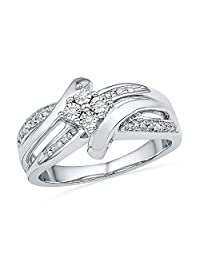 Sterling Silver Round Diamond Bypass Fashion Ring (0.03 cttw)