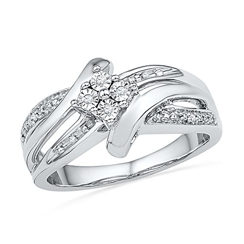 Sterling Silver Round Diamond Bypass Fashion Ring (0.03 - Round Silver Diamond Ring